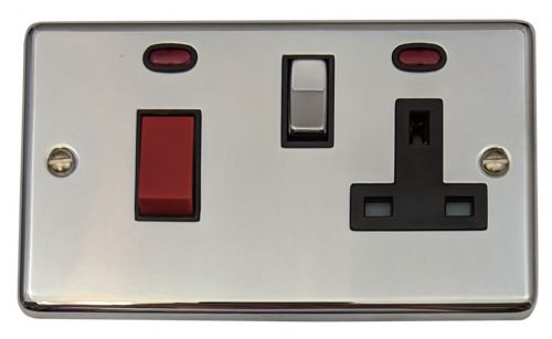 G&H CC329 Standard Plate Polished Chrome 45 Amp DP Cooker Switch & 13A Switched Socket